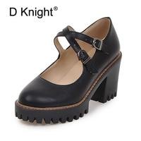 Artı Boyutu 34-43 Kadın Pompaları Moda Çapraz-Kayışı Ayakkabı Kadın 2 tipi Kare Orta Yüksek Topuklu Siyah Gri Bej Bayan Ayakkabıları kadınlar