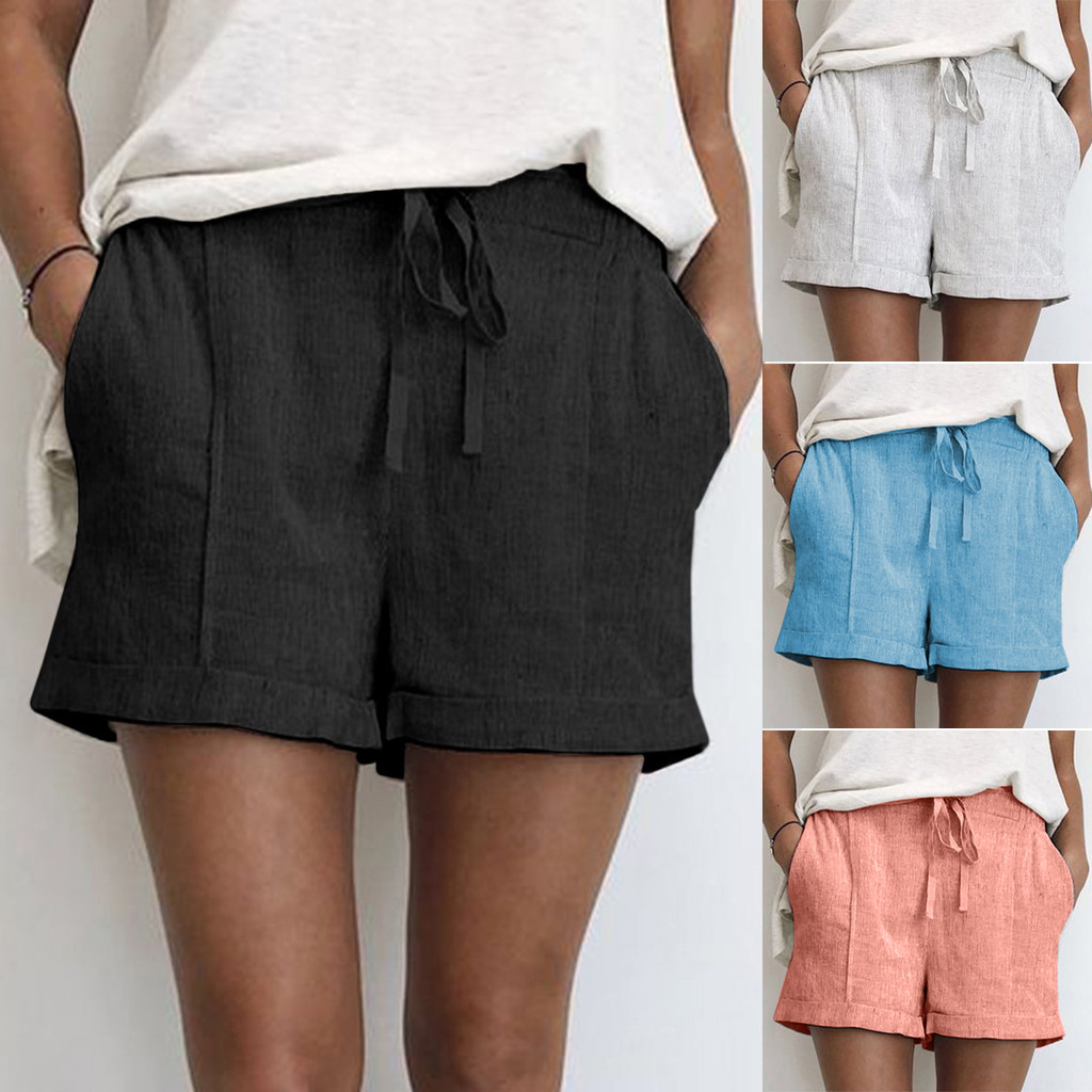 Female Fashion Cotton Linen Pockets   Short   Pants Women's Summer Solid Color Lace-up Cotton Casual hot   Shorts   pants mujer   shorts