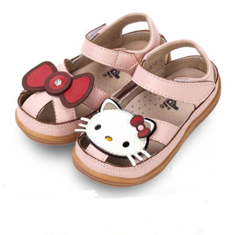ФОТО Cute Hello Kitty Children Shoes Girls Sandals Hollow PU Leather Summer High Quality Princess Dress Shoes Kids Breathable Sale