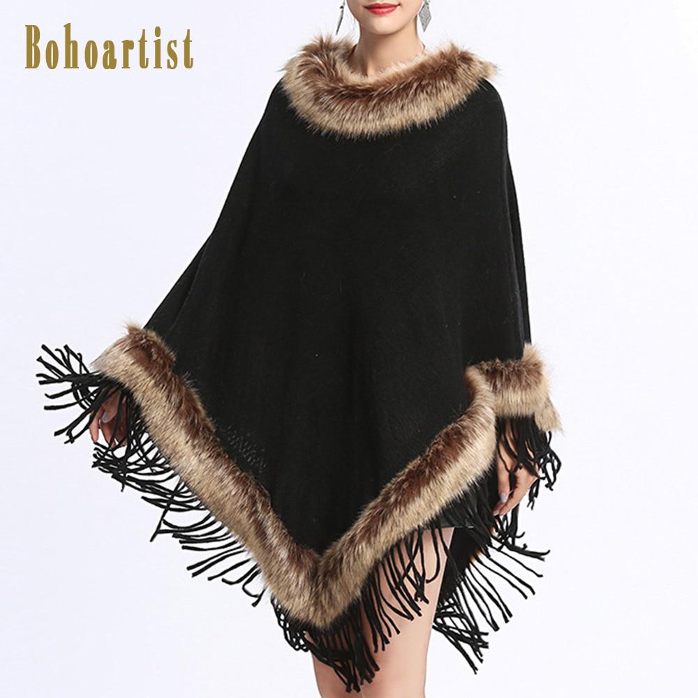 Bohoartist Pullover Patchwork Fox Fur Tassel Cape Women Winter Knitted Loose Cloak Black Boho Poncho Capes Shawl Sweater Coat