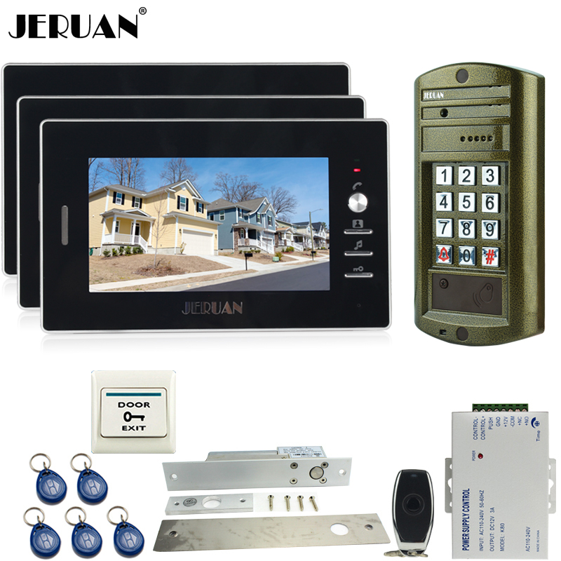 JERUAN NEW Metal waterproof password HD Mini Camera +7 inch Video Door Phone Intercom System kit +Electric Drop Bolt lock 1V3 jeruan 8 inch video door phone high definition mini camera metal panel with video recording and photo storage function