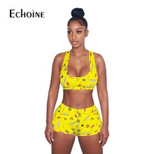 цена на 2019 New Lip Leaf Print Women Tracksuit Cropped Tank Top and Shorts Sporting Two Piece Set Gym Fitness Outfits Sexy Club Suits