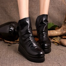 2016 Women Boots Thick Heels Platform Double Zip Pleated  High Heels Genuine Leather Women Ankle Boots