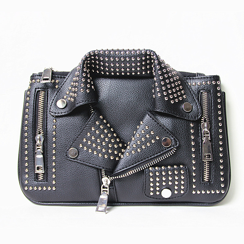 2016 women font b bags b font Designer clutch fashion rivet motorcycle shoulder font b bag