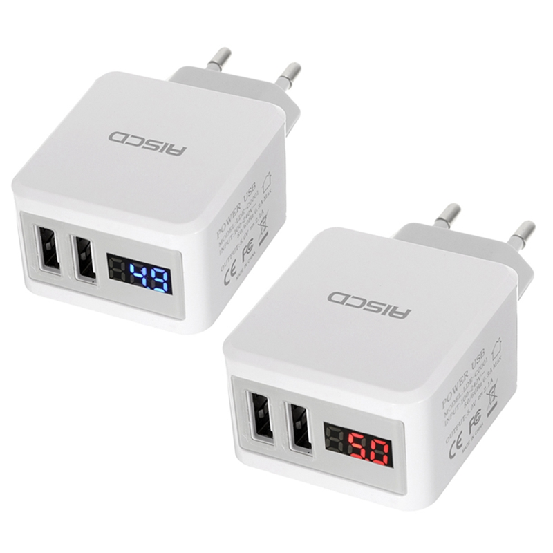 New Arrival AISCD 2.1A EU Plug 2Ports USB Travel Wall Charger With LED Display For iphone X 8/8Plus for Samsung S8 X