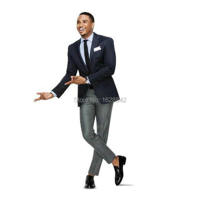 Black blazer gray pants