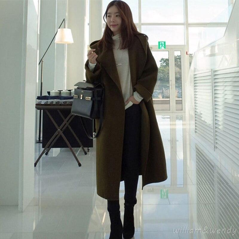 Woman Thicken Green Cashmere Palto Woolen Maxi Down Coat Autumn Long Warm font b Jacket b