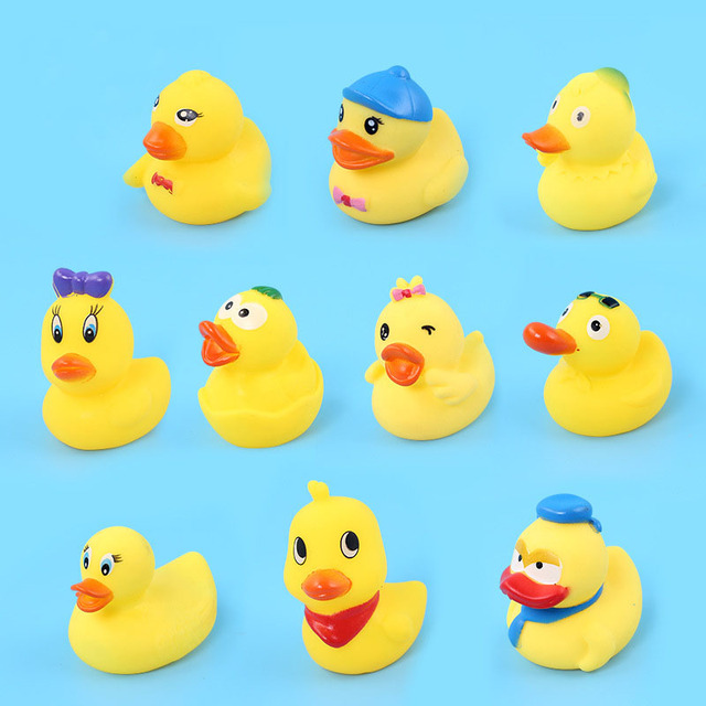 Drink Float Water Swimming Child's Play Mouth Mini Small Yellow Rubber Duck Educational Toys for Girls Children Baby Bath Toys