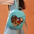 Candy Color Transparent Love Heart Shape PU Backpacks For Womens Girls 6 Colors Harajuku School Backpack Shoulder Bags