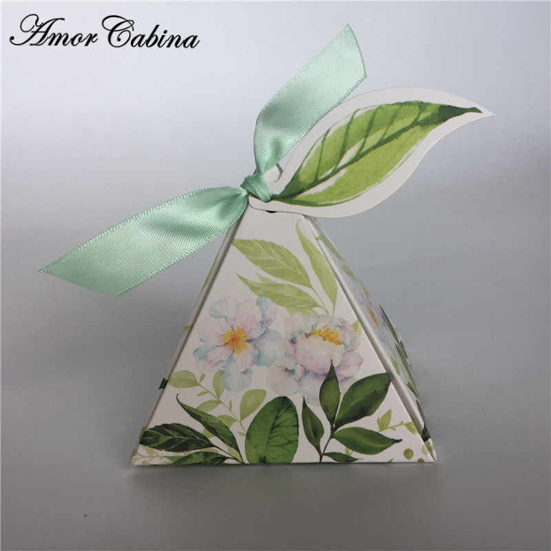 Green forest Style Triangular Pyramid flower leaves Candy Boxes Wedding Favors Bomboniera birthday gift box with ribbon & tag