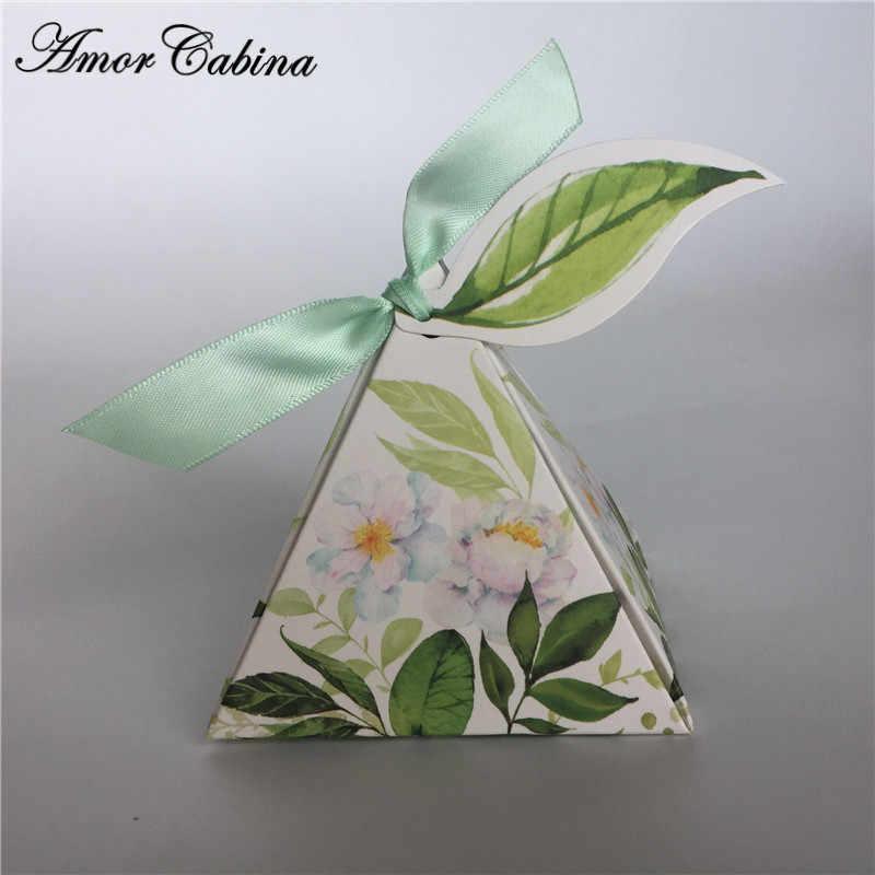 Yeşil orman Tarzı Üçgen Piramit çiçek yaprakları Şeker Kutuları Düğün Iyilik Bomboniera doğum günü hediyesi kurdelalı kutu etiketi