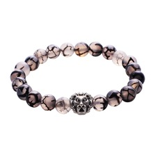 Men Trendy Classic Lion&Buddha Head Bracelet Black Lava Stone White Beaded Jewelry Gifts