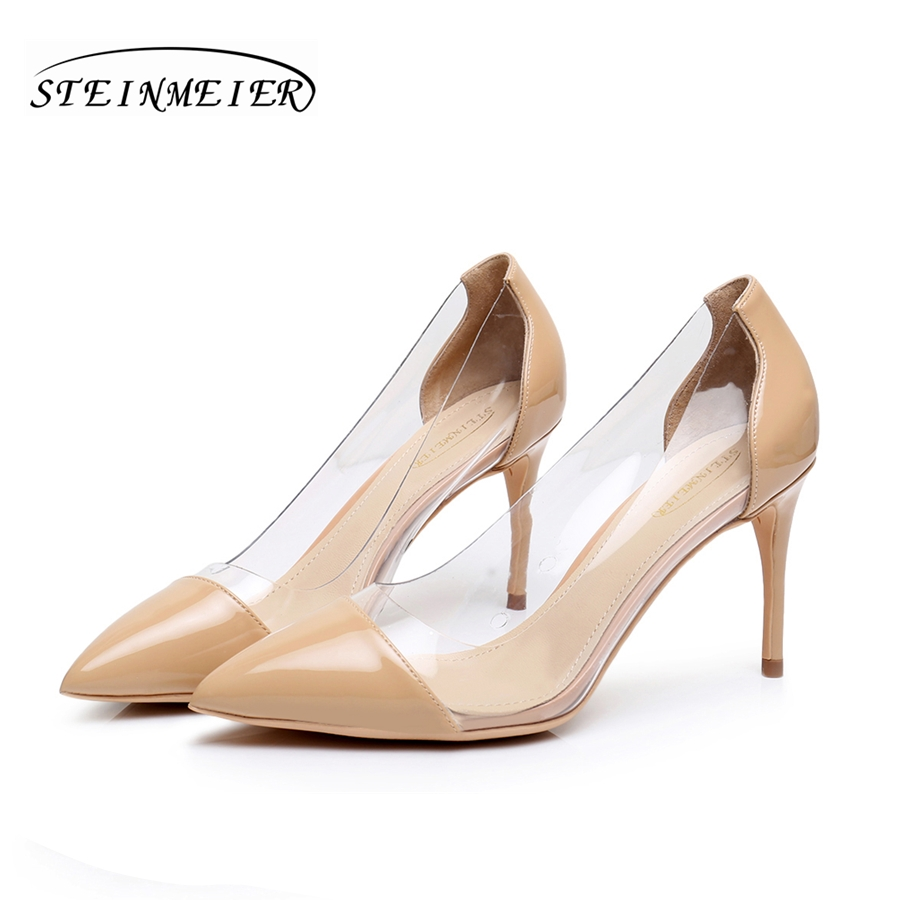 women high heels sexy thin 8.5cm patent leather transparent glass