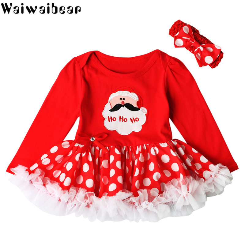 Baby Christmas Dress Baby Clothes Infant Toddler Baby Girls First Christmas Outfit Newborn Long-sleeved Romper dress+Headband newborn baby girls christmas costume tutu dress my first christmas baby clothes set headband xmas socks new born baby clothing