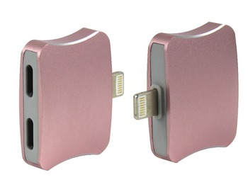 STARAUDIO 2Pcs  Pink Lightning to Audio  2 in1 Headphone Charger  Adapter Connector For iPhone 7 plus Ipad  PINKIPHONE Connector
