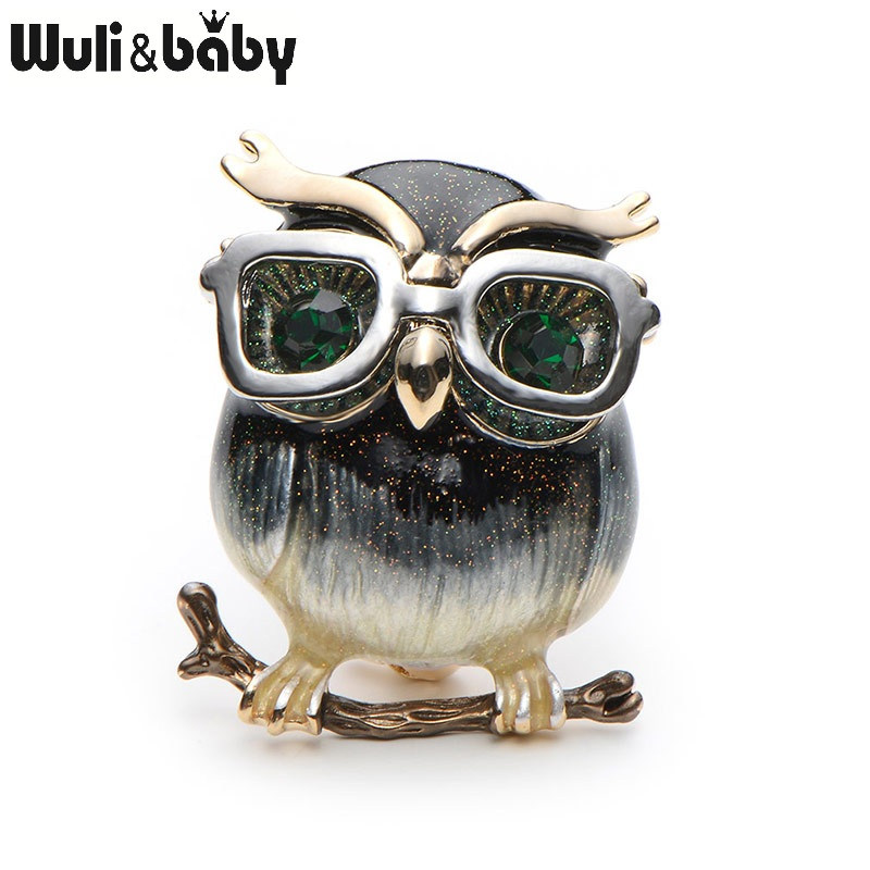 Wuli&Baby  Alloy Glasses Owl Brooches For Women And Men Metal Bird Animal Enamel Brooch Pins Christmas Gifts