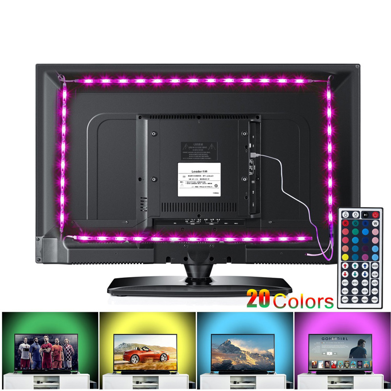 LED TV Backlight Strip Lights, 2M/6.56ft USB Powered RGB Multi-Color Bias Lighting Kit with Remote Control for 40 To 60 Inch HDT 775mm led backlight lamps kit w optical lens fliter for 39 40 tv monitor panel 12pcs led strips driver board