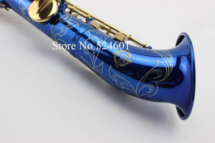 Nuova Suzuki B flat Sassofono Soprano Chiave D'oro Vernice Dritto Sax Nero e Blu Top Strumenti Musicali dhl/ups trasporto libero