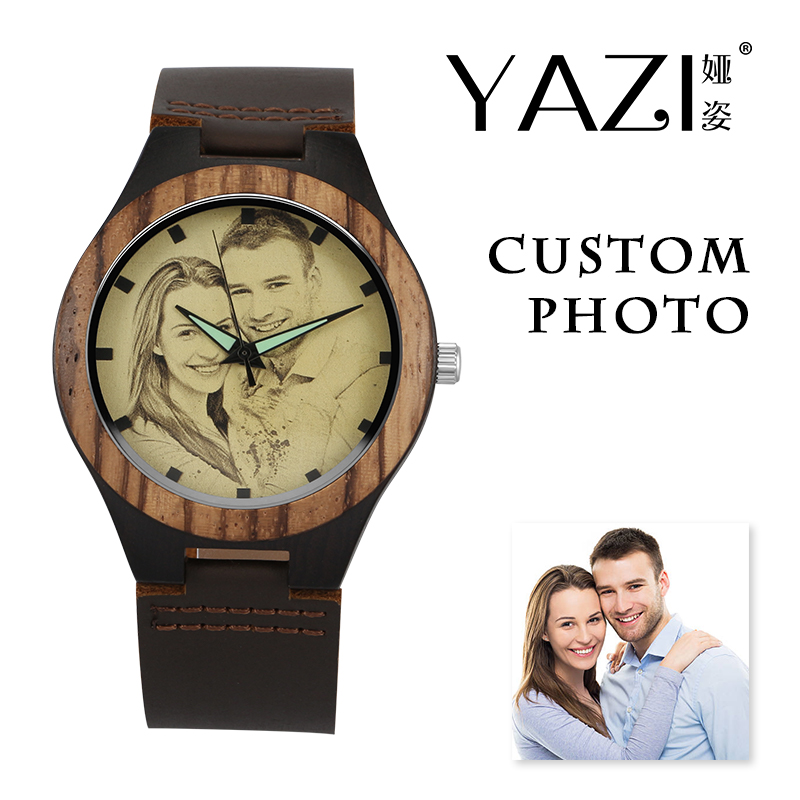 YAZI Personalized Custom Watch Photo Printing Natural Ebony Wooden Watch Engraving Picture Leather Band Unique Quartz Watches epiphone ltd matt heafy signature les paul custom ebony