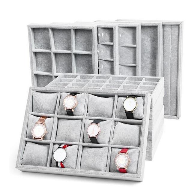 Fashion Ice Grey Velvet Jewelry Tray Jewelllery Storage Box Watch Holder