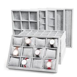 Модный ледяной серый бархатный лоток для ювелирных изделий Коробка для хранения часов держатель ожерелье кольцо серьги кулон Дисплей