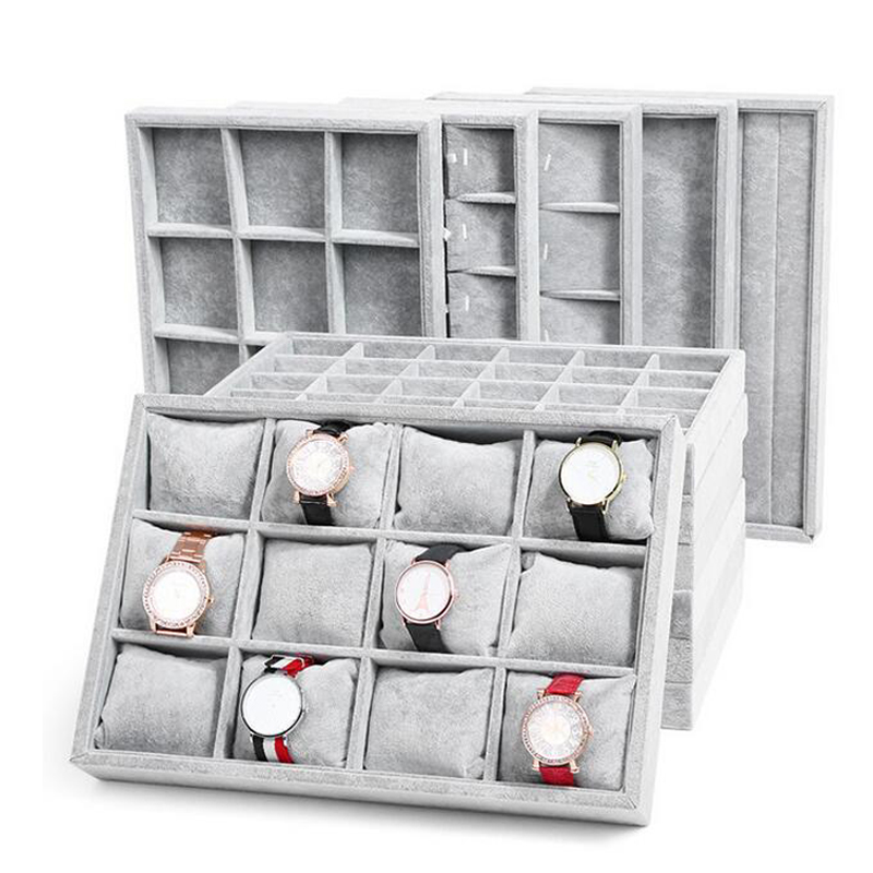 Fashion Ice Grey Velvet Jewelry Tray Jewelllery Storage Box Watch Holder Necklace Ring Earrings Pendant Display Organizer Series