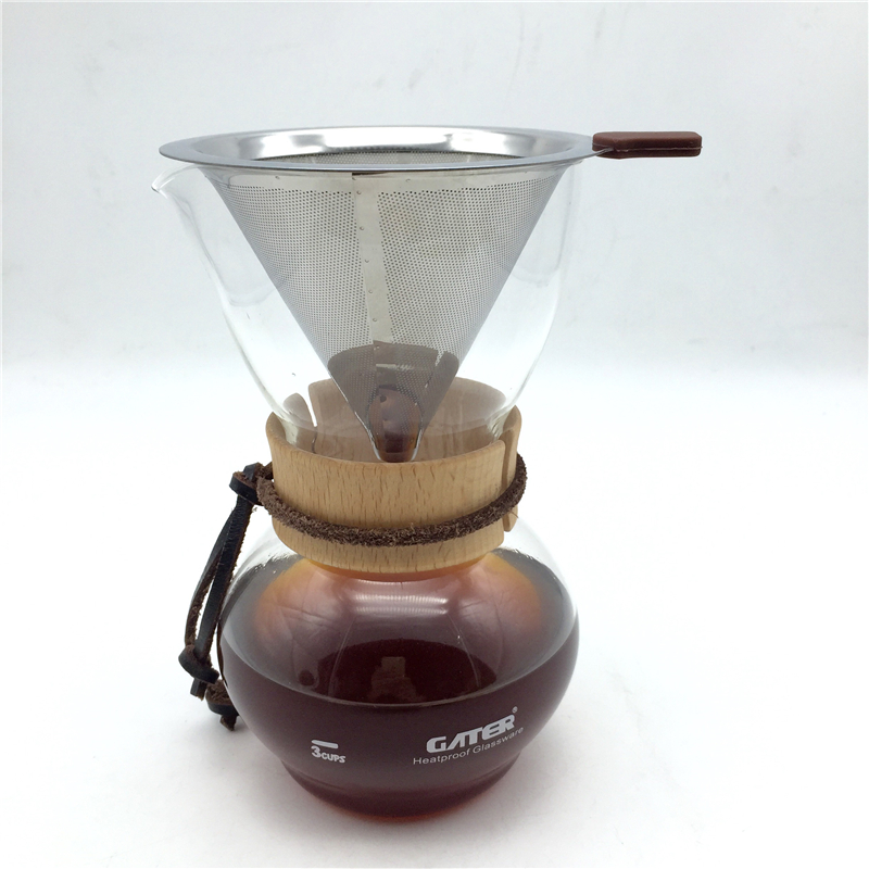 Free Shipping 480CC glass coffee pot + stainless steel filter / drip filters coffee set manual coffee brewing tool percolator