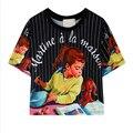 Womens Simple Tops Últimas Casual Multicolor Cosecha de Impresión Chica de Manga Corta Cuello Redondo T-shirt C352