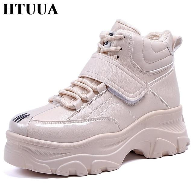 HTUUA большой размер 35-41 теплый плюш Женская зимняя обувь толстая подошва на шнуровке Повседневная обувь на платформе, увеличивающая рост кроссовки SX1858