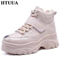 HTUUA Big Size 35 41 Warm Plush Winter Shoes Women Thick Sole Lace Up Casual Shoes Height Increasing Platform Sneakers SX1858