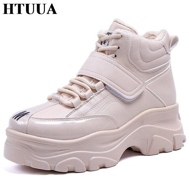 gran venta calidad asombrosa encontrar el precio más bajo € 34.6  Aliexpress.com: Comprar HTUUA tamaño grande 35 41 felpa caliente  zapatos de invierno las mujeres suela gruesa con cordones Casual zapatos ...