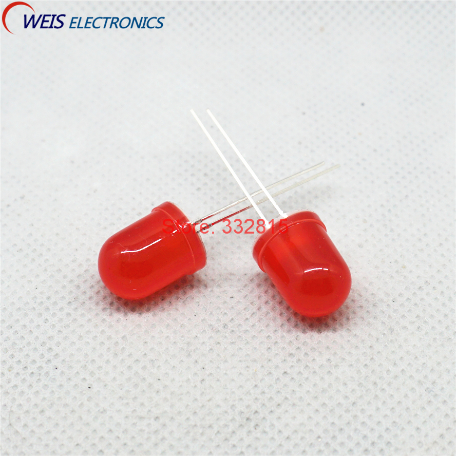 red Lamp Dip-2 Longleg Light Emitting Diode Free Shipping Carefully Selected Materials Expressive 100pcs F10 F10mm 10mm Led Super Bright Red