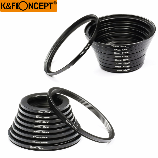 K & F KHÁI NIỆM 18 cái Camera Lens Lọc Step Up & Xuống Adapter Ring Set 37 82 mét 82 37 mét Cho Canon Nikon DSLR