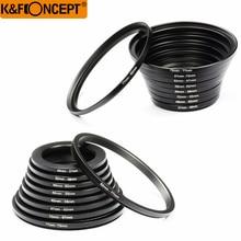 K & f conceito 18 pces câmera lente filtro step up & down adaptador anel conjunto 37 82mm 82 37mm para canon nikon dslr