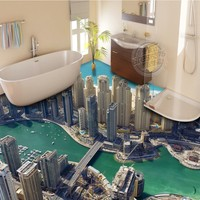 Free shipping custom City ground floor painting wall murals living room TV backdrop bathroom mural wallpaper 3d flooring