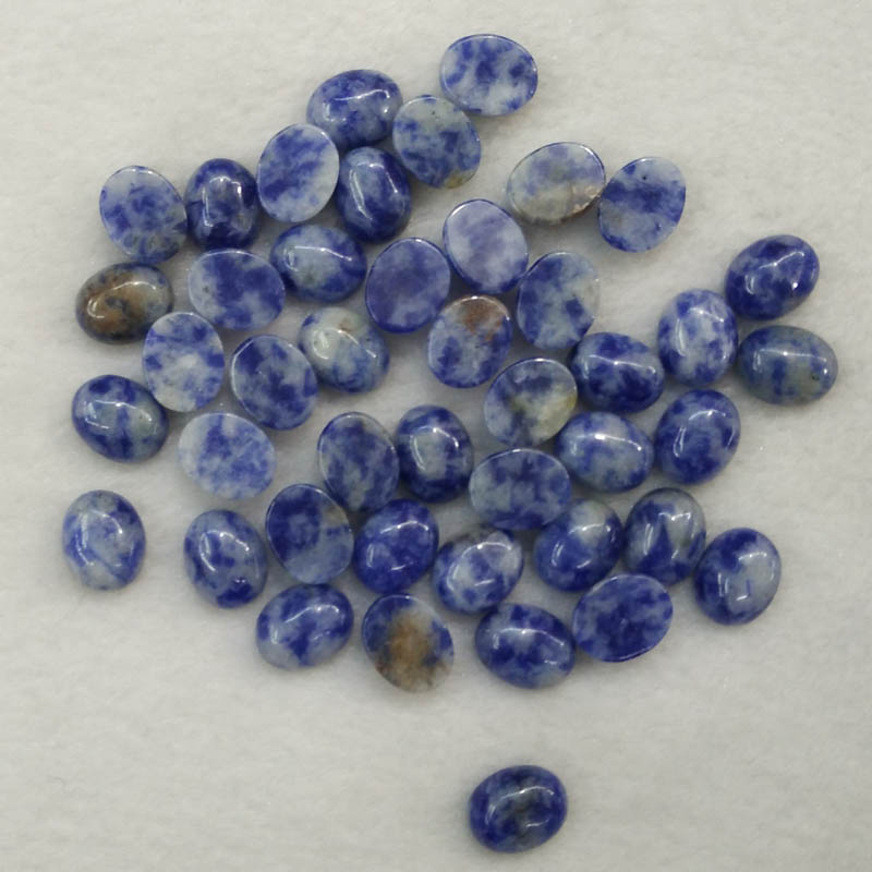 2016 Fashion natural sodalite stone Oval CAB CABOCHON 8x10mm beads charms for jewelry making wholesale 50pcs/lot free shipping