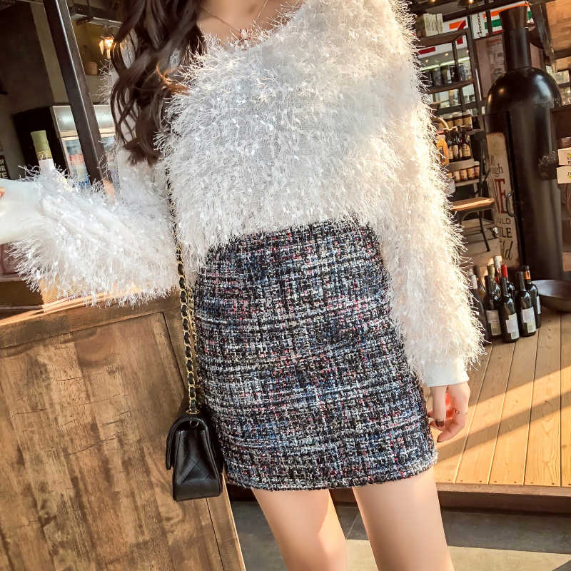 Winter Tweed Röcke Frauen Mini Bleistift Röcke Plaid Wolle Röcke Koreanische Bodycon Hohe Taille Elegante Tweed Rock Dame Vintage