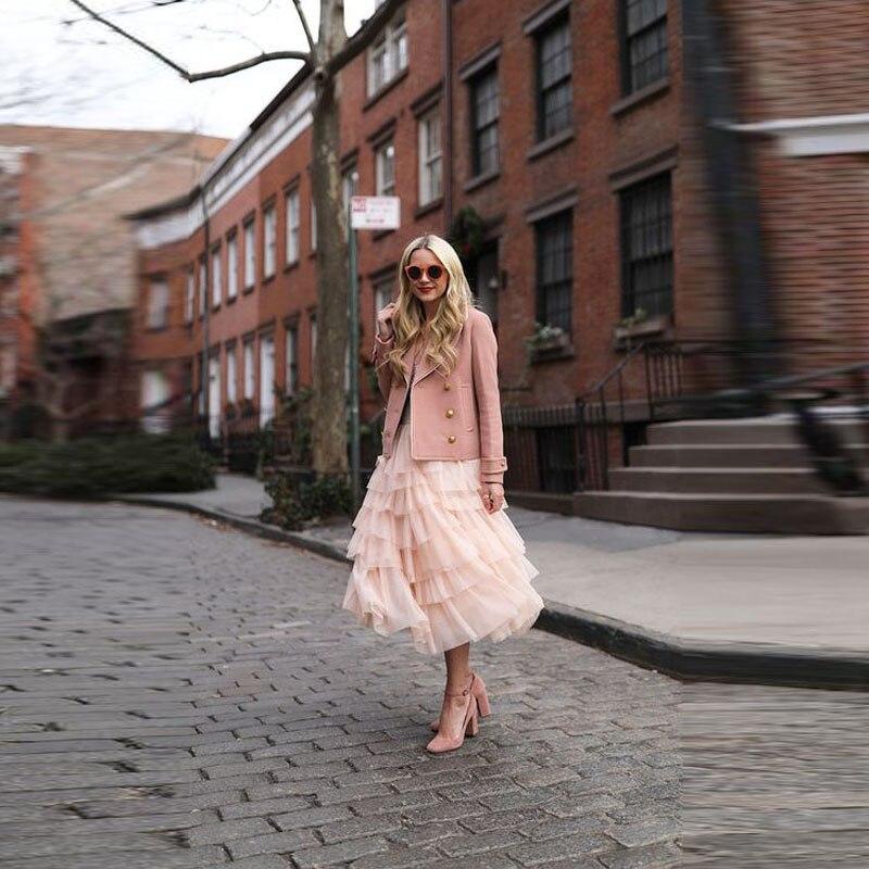 Ruffles Jupe Adulto Womens Mid Moda Tutú Falda Saias Rosado Calle Color Malla Estilo Faldas Pink Lolita Chic Sólido Tulle Calf qUU0Aw7