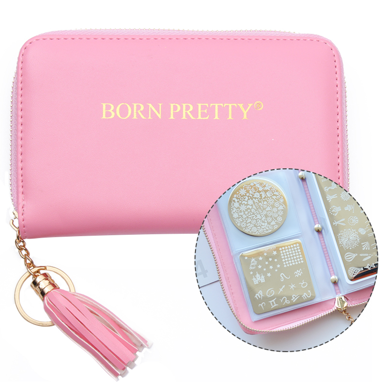 BORN PRETTY Nail Stamping Plate Holder Case Pusingan Square Rectangular 24 Slot Manicure Nail Art Plate Organizer
