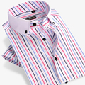 Bamboo Fiber Men Striped Short Dress Shirt Brand Fashion Short Sleeve Patchwork Formal Business Male Casual Shirts 4XL