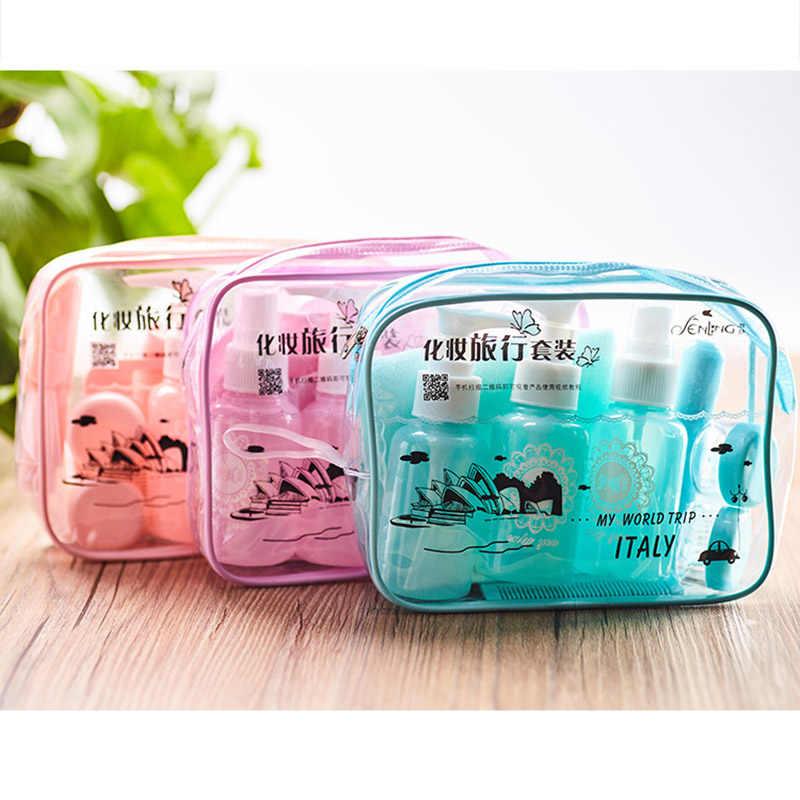 Dropshipping 10 pçs/set Kits de Maquiagem Frascos de Spray de Perfume Shampoo Creme Loção Recipiente Conjunto com Bolsa de Viagem SMJ