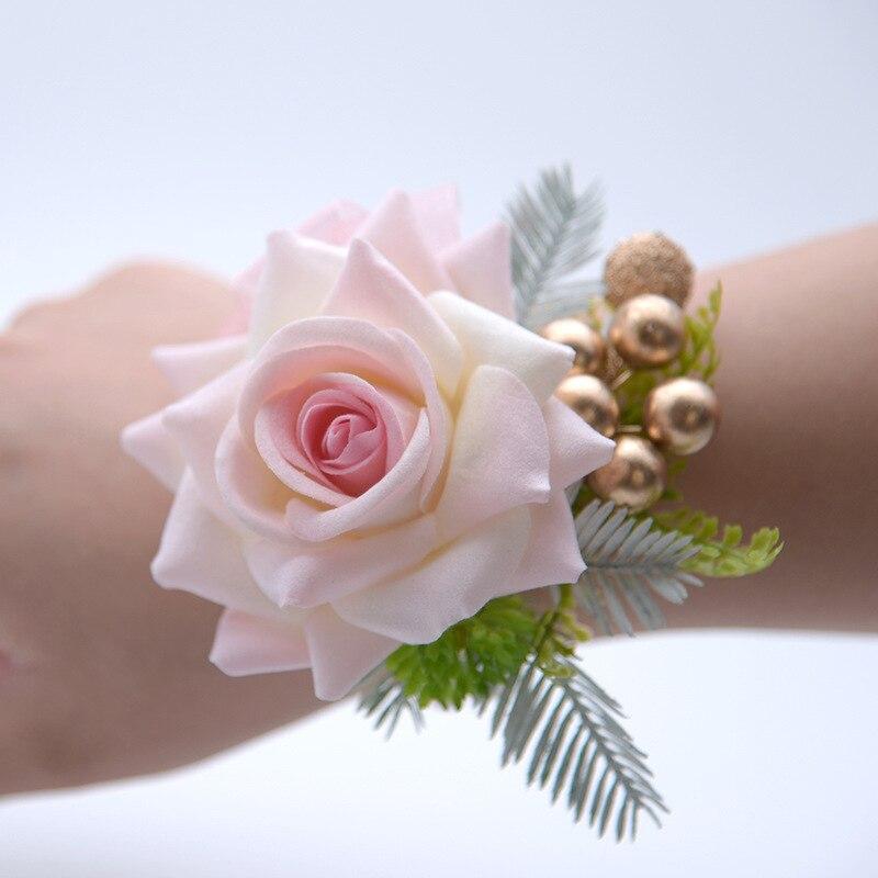 Pink Rose Bridesmaid Flower Bracelet Pulseras Flores Hermanas Novia Yo Cho Silk Roses Wedding Wrist Corsages
