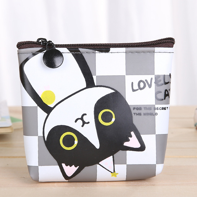 Bulk 12pcs/lot Coin Purses Child Lovely Cat Small Mini Women Girls Handy Zipper Change Purse Money Bag Wallet For Children Gift