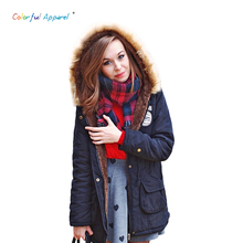 Winter Jacket Women 2016 New Winter Womens Parka Casual Outwear Military Hooded Coat Fur Coats Femme Woman Clothes