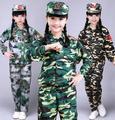 2016 hot Crianças Primavera Queda Roupas de Camuflagem 2 Pcs Boys & Girls Moda Splicing Esporte Terno Crianças Twinset Uniforme Militar