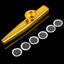 Hot 1Pc Firm Aluminum Metal Kazoo Harmonica Mouth Flute Kids Party Gift for Guitar Ukulele Accompaniment Gold Silver Color
