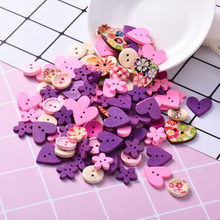 100pcs Mixed 2-Hole Wooden Buttons Heart Pattern Decorative Buttons For Women Sewing Tools DIY Scrapbooking Clothes Craft Tool 50pcs mixed color snails wooden buttons for craft clothing decorative diy scrapbooking buttons sewing accessories