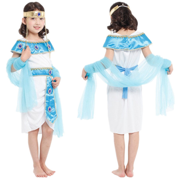 free shipping new egyptian cleopatra costume kids girls princess dress halloween christmas masquerade children cosplay clothes - Egyptian Halloween Costumes For Kids