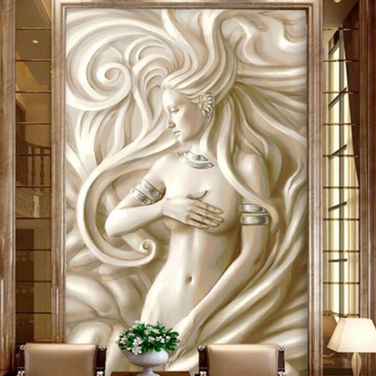 <font><b>3D</b></font> 8D Figure Sculpture <font><b>Sex</b></font> Girl Wall Mural Photo <font><b>Wallpaper</b></font> Living Room Backdrop Wall Paper Roll Statue Hallway Wall Murals image