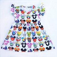 2018 Hot Selling Baby Girls Dresses Summer Clothes Cute Cartoon Mickey Head Printed Milksilk Flutter Sleeve